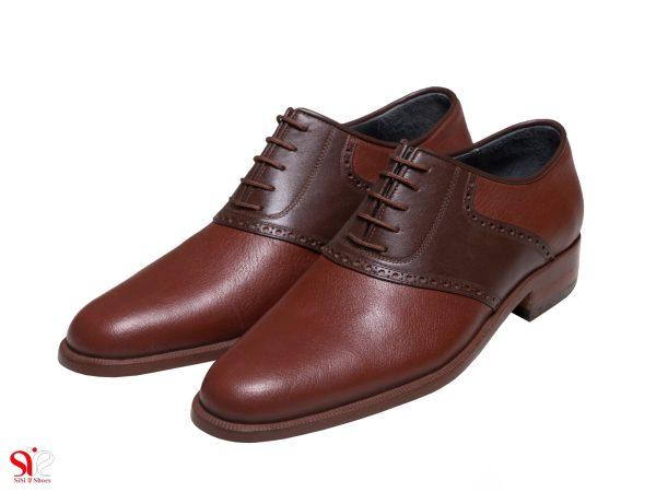 مدل کفش مردانه چرمی دستدوز ارجمند رنگ عسلی