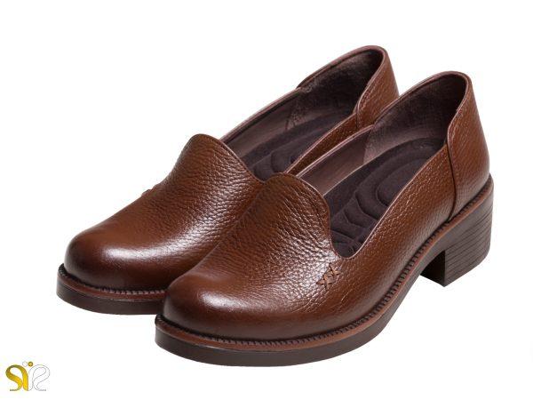 عکس مدل کفش اداری زنانه ویونا رنگ قهوه ای - کفش چرم زنانه