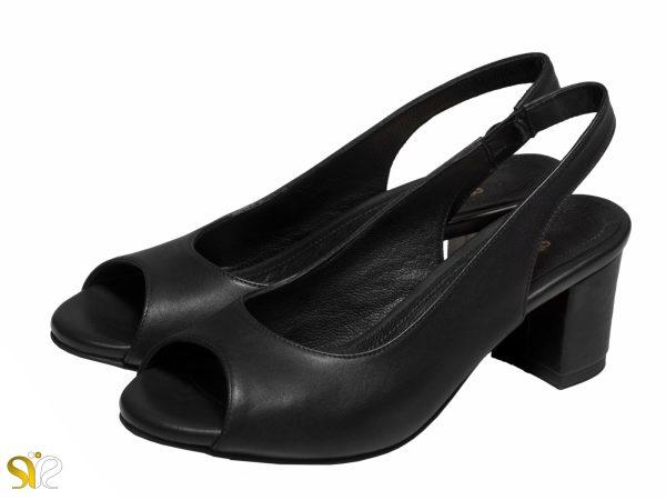 عکس مدل کفش اداری زنانه پاشنه پهن آسنا مشکی - کفش