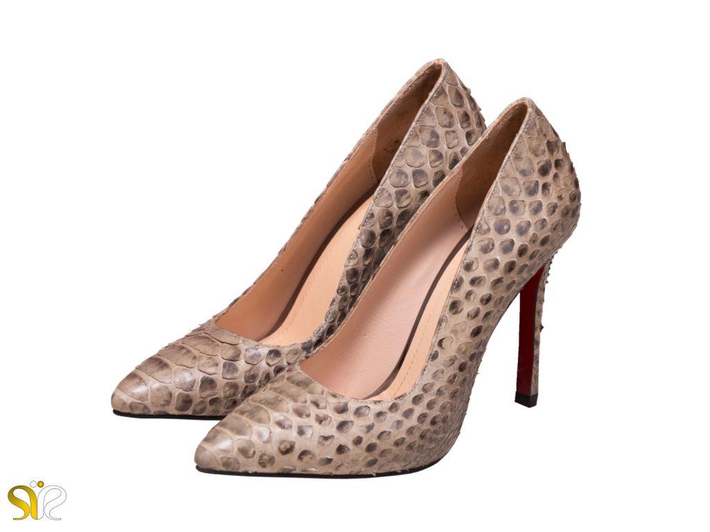 عکس مدل کفش مجلسی زنانه پوست مار پیتون جاستینی
