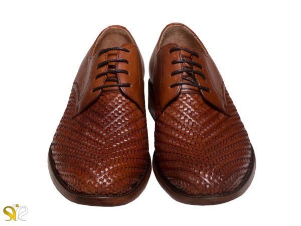 چرم رنگ عسلی کفش دامادی مدل بافتی سی سی - کفش تبریز