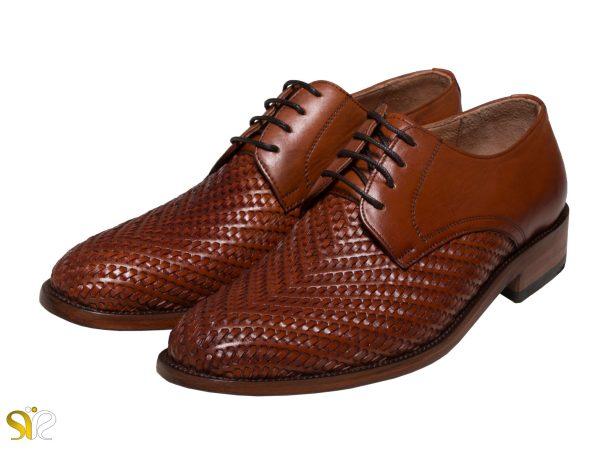 مدل کفش دست دوز مردانه بافتی رنگ عسلی - کفش دامادی