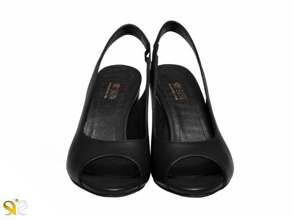 کفش سی سی مدل آسانا رنگ مشکی جلوباز پاشنه پهن ۵ سانتی متری سی سی