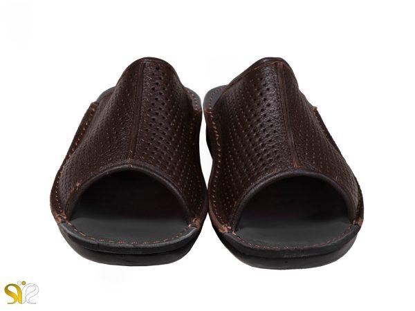 دمپایی مردانه مدل کونته چرم تابستانی رنگ قهوه ای - کفش سی سی