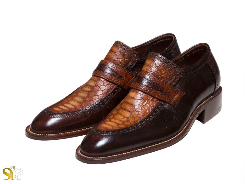 مدل کفش مجلسی مردانه پلاتینیوم با چرم طبیعی کروکودیل
