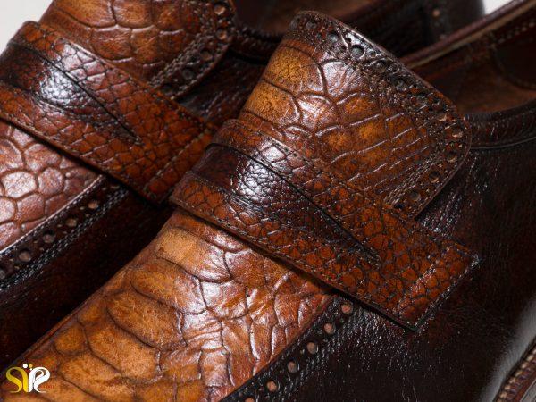 کفش مردانه مدل پلاتینیوم با چرم طبیعی کروکودیلی