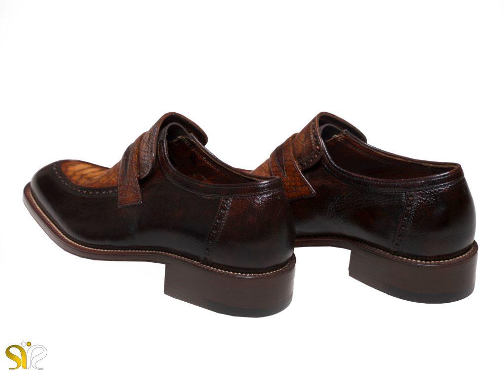 کفش چرم کروکودیل مدل پلاتینیوم سی سی