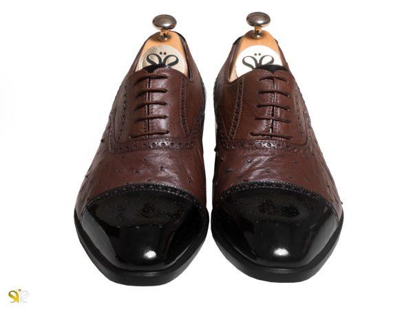 ترکیب چرم گاوی و شترمرغ در مدل کفش مردانه ژوانی سی سی - کفش تبریز