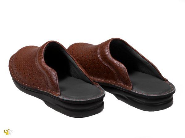 دمپایی طبی مردانه مدل کاستر عسلی رویه سوراخدار - کفش چرمی