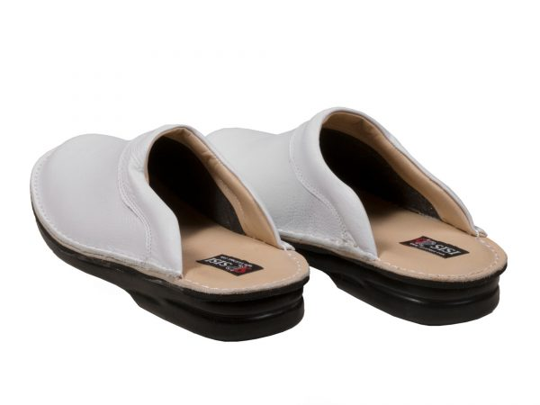 دمپایی طبی مردانه چرمی برای محیط پزشکی مدل کاستر سفید - کفش سی سی