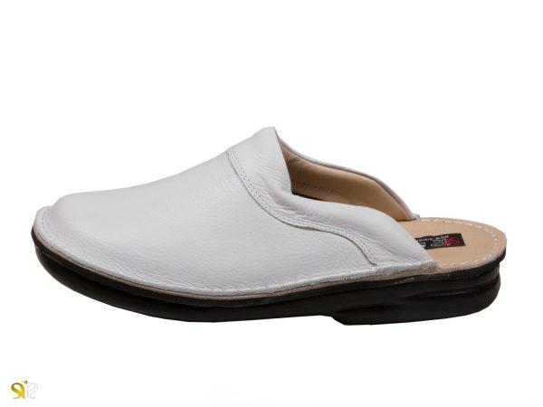 دمپایی چرم مردانه سفید مدل کاستر برای محیط بیمارستانی و بهداشتی ساده - کفش چرم