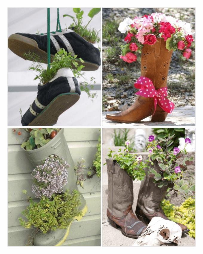 استفاده از کفش های کهنه و قدیمی با کاشت گل و گیاه درون آنها