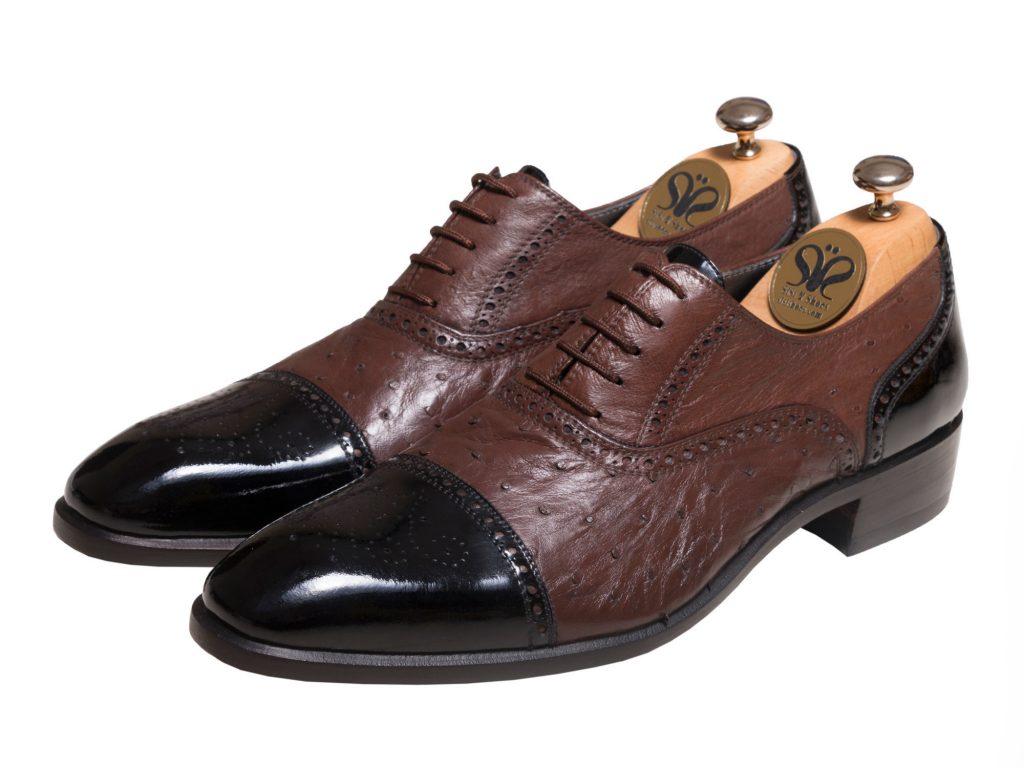عکس کفش لاکچری مردانه چرم شترمرغ ژوانی - کفش دستدوز