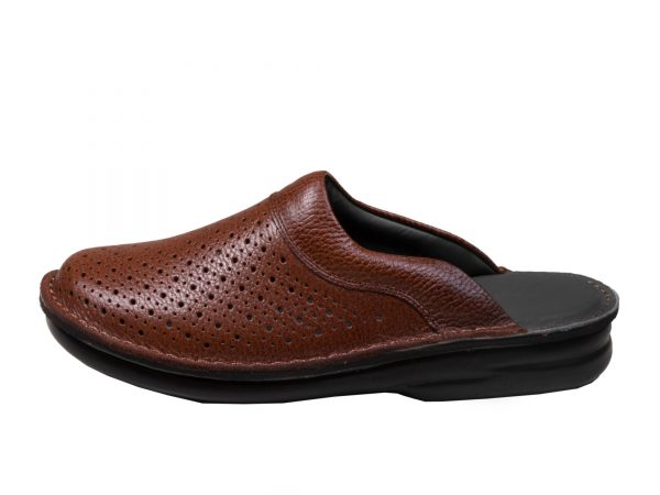عکش مدل دمپایی مردانه چرمی کاستر رنگ عسلی - کفش مردانه