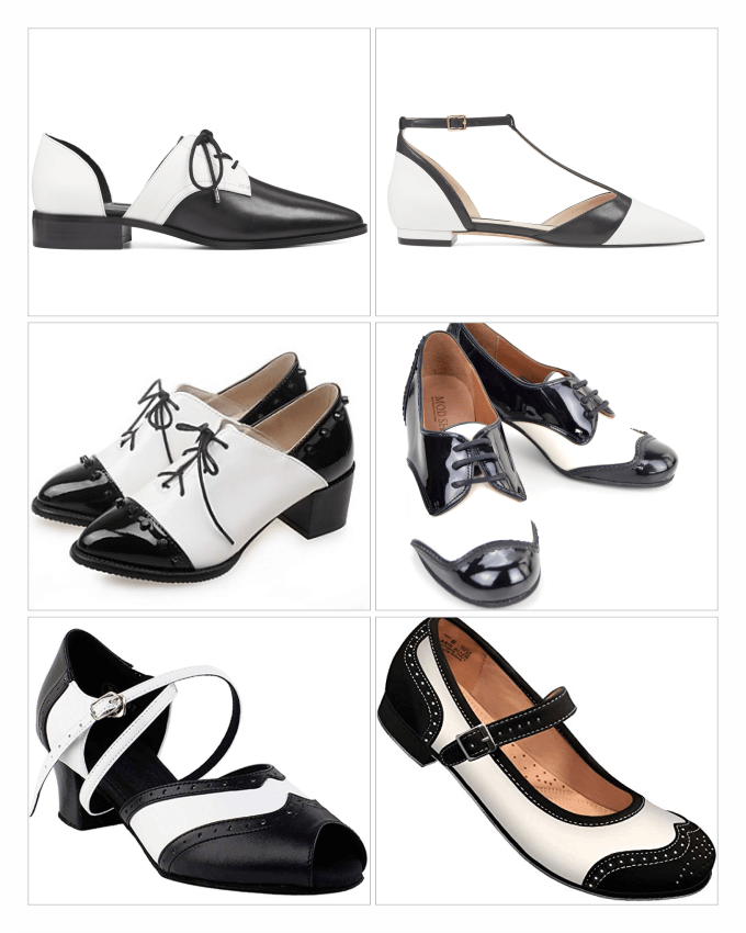 کفش های زنانه سیاه و سفید