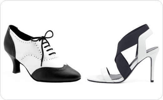 مدل انواع کفش های زنانه با پستایی (Uppers) سیاه و سفید (۱)