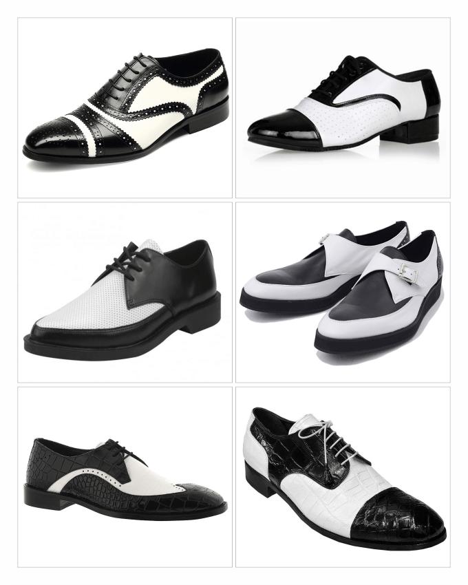 کفش های چرمی مردانه با پستایی (Uppers) سیاه و سفید