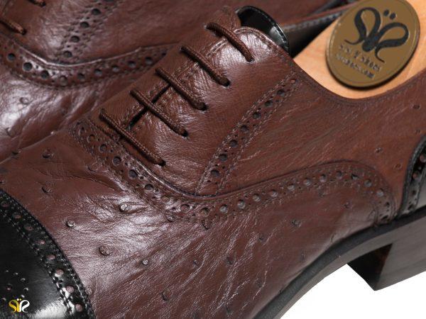 چرم شترمرغ برای کفش چرم مردانه ژوانی سی سی