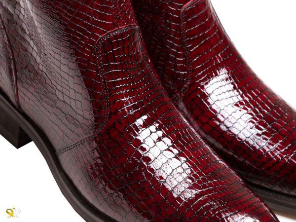 چرم ورنی براق نیم بوت مجلسی مردانه مدل فلوس - کفش سی سی