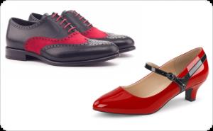 مدل انواع کفش های چرمی زنانه و مردانه با پستایی (Uppers) سیاه و قرمز