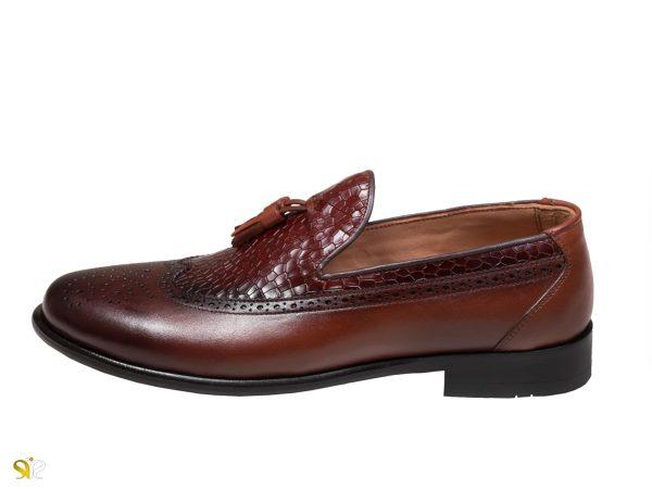 کفش مردانه مدل آریو رنگ قهوه ای - کفش تبریز