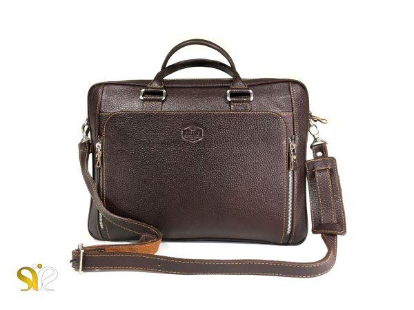 کیف اداری چرم مدل دابلز رنگ قهوه ای سی سی - کیف چرمی