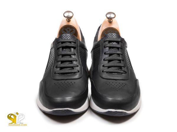 مدل کفش اسنیکر رئال مشکی بنددار - کفش چرم اسپرت