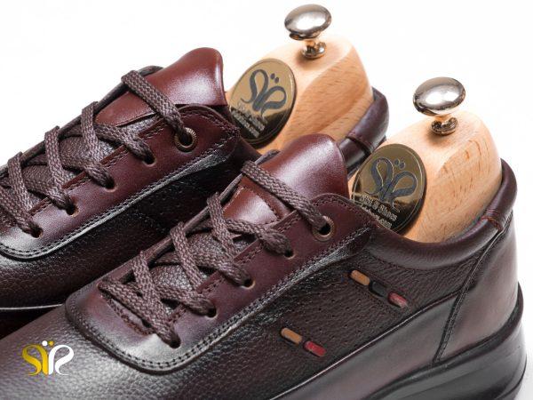 کفش اسپرت چرم مردانه رنگ قهوه ای مدل کراس - کفش سی سی