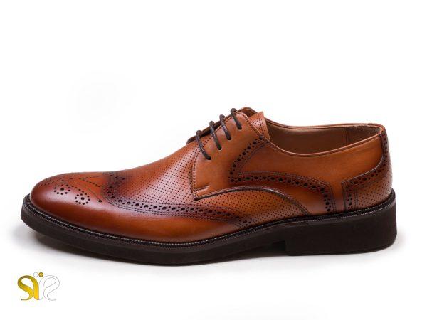کفش سی سی مدل بتا رنگ عسلی - کفش اداری مردانه