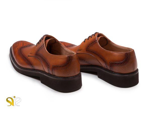 کفش چرم مردانه مدل بتا رنگ عسلی - کفش تبریز