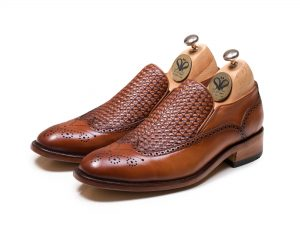 کفش مردانه تمام چرم مدل مانچو بافتی