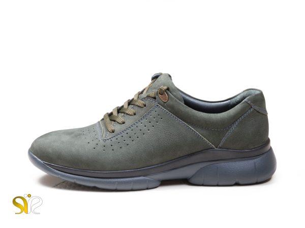 مدل کفش اسپرت چرم مردانه با چرم نبوک سبز خاکی