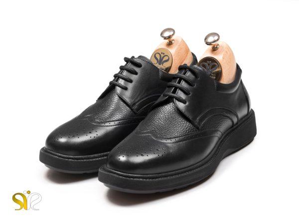 کفش پرسنلی مردانه مدل پاما مشکی بنددار