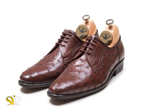 مدل کفش مجلسی مردانه چرم شترمرغ الماس
