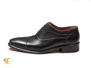 کفش چرم مردانه مدل اسپانیایی بنددار مشکی