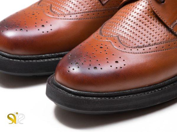 چرم پولیشی عسلی کفش اداری مردانه