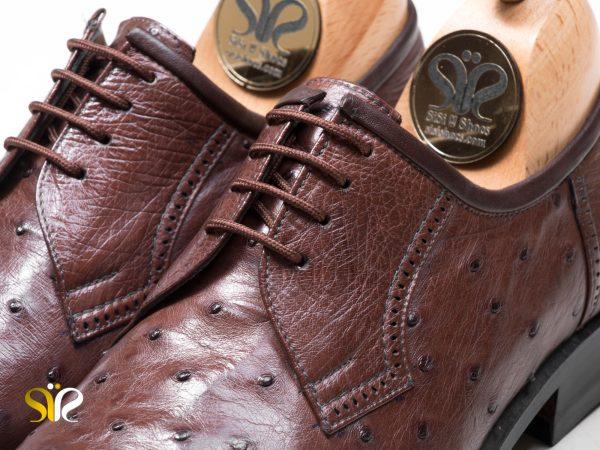 چرم شترمرغ قهوه ای برای کفش مجلسی مردانه