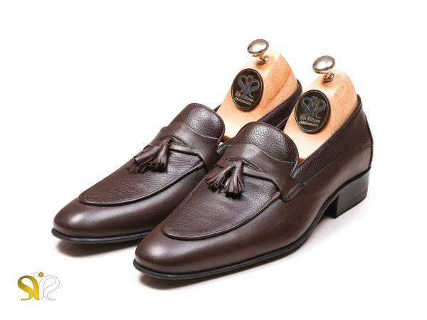 کفش مردانه آویزدار چرم لوفر مدل لاما