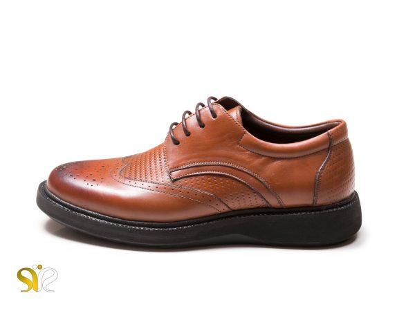 کفش چرم مردانه مدل پاما بنددار عسلی