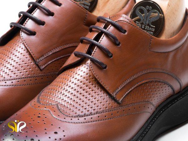 چرم گاوی کفش مردانه مدل پاما بنددار عسلی