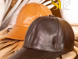 کلاه چرمی رنگ قهوه ای