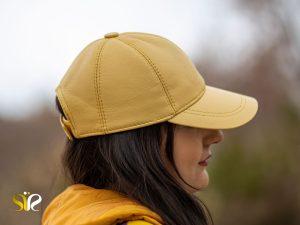 کلاه چرمی رنگ زرد