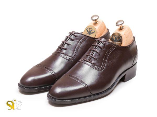 عکس کفش مجلسی مردانه تما چرم مدل پاناما قهوه ای