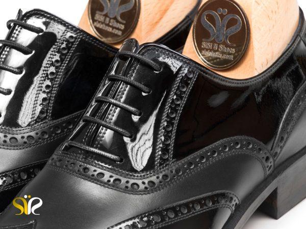چرم ورنی و مات کفش مجلسی مردانه مدل آذین سی سی