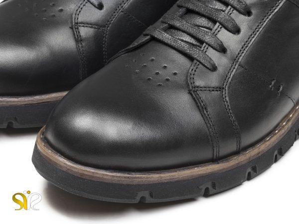 کفش اسپرت چرم پسرانه با زیره و کفی طبی مدل فورتیس مشکی