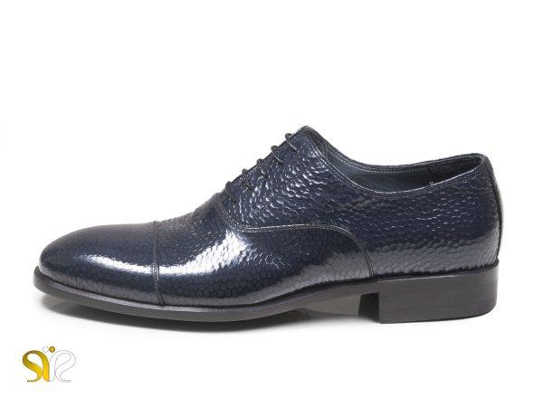 کفش شیک مجلسی مردانه ورنی مدل پاریس سرمه ای