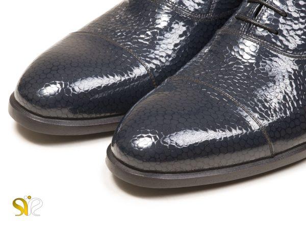 کفش مردانه مجلسی پاریس با چرم ورنی براق طرح دار