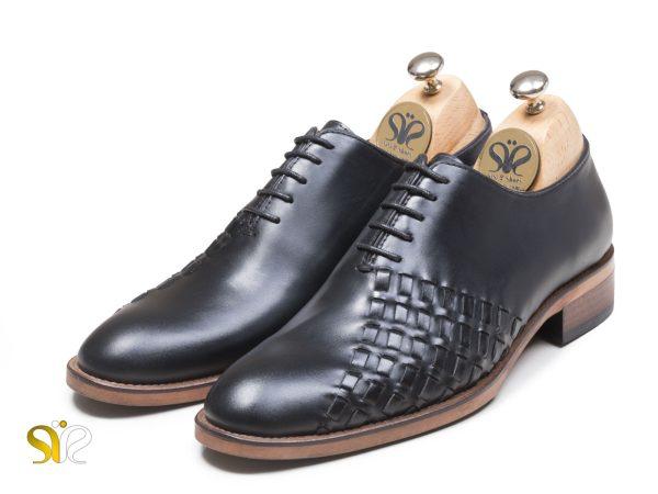 عکس مدل کفش دامادی بافتی دیبالا مشکی پولیشی