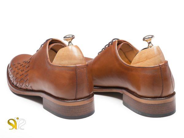 پاشنه چوبی کفش مردانه مدل دیبالا رنگ عسلی