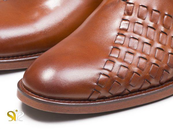 چرم بافته شده در کفش مردانه دیبالا عسلی